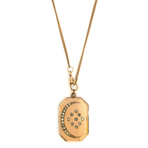 Crescent Moon & Stars Rectangular Locket