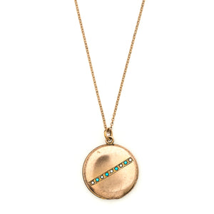 Turquoise and Pearl Crossbar Locket
