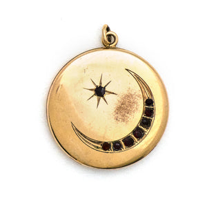 Red Crescent Moon & Star Locket