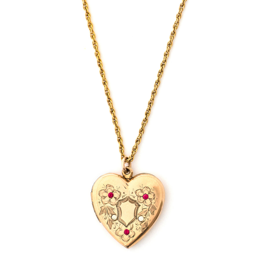 Floral Shield Heart Locket