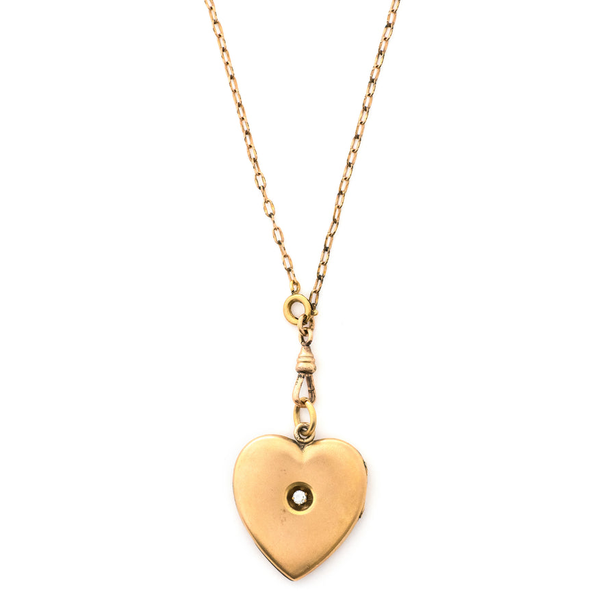 Matte Single Stone Heart Locket