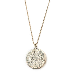 Sterling Silver Engraved Floral Locket