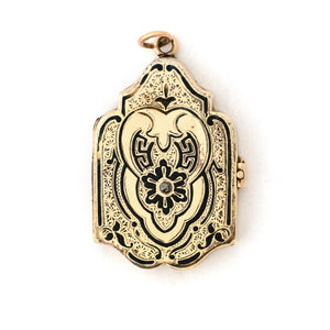 12k Rose Gold Enamel Shield Locket