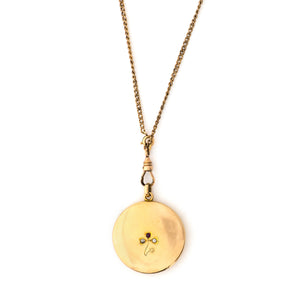 10k Gold Diamond & Ruby Clover Locket