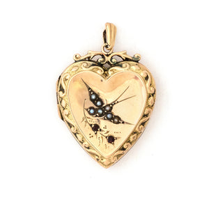 9K Gold & Pearl Swallow Heart Locket