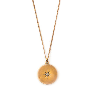 14k Gold & Diamond Starburst Coin Locket