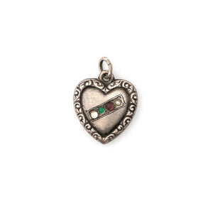 Antique Sterling Silver Multi Color Heart Charm