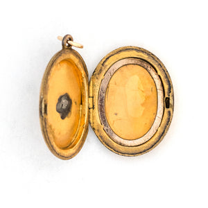 Pearl Crescent Oval Locket