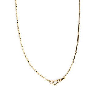 14k Gold and Black Enamel Bar Link Chain