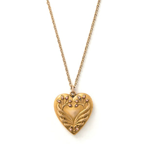 Coral Berry Heart Locket