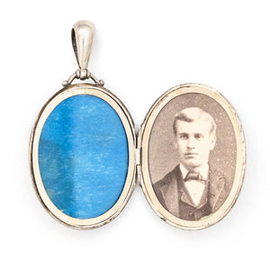 English Silver Forget Me Not Locket