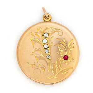 Red & White Forget Me Not Locket