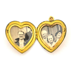 Mid-century Floral Heart Locket