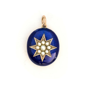 10K Pearl & Blue Enamel Starburst Locket