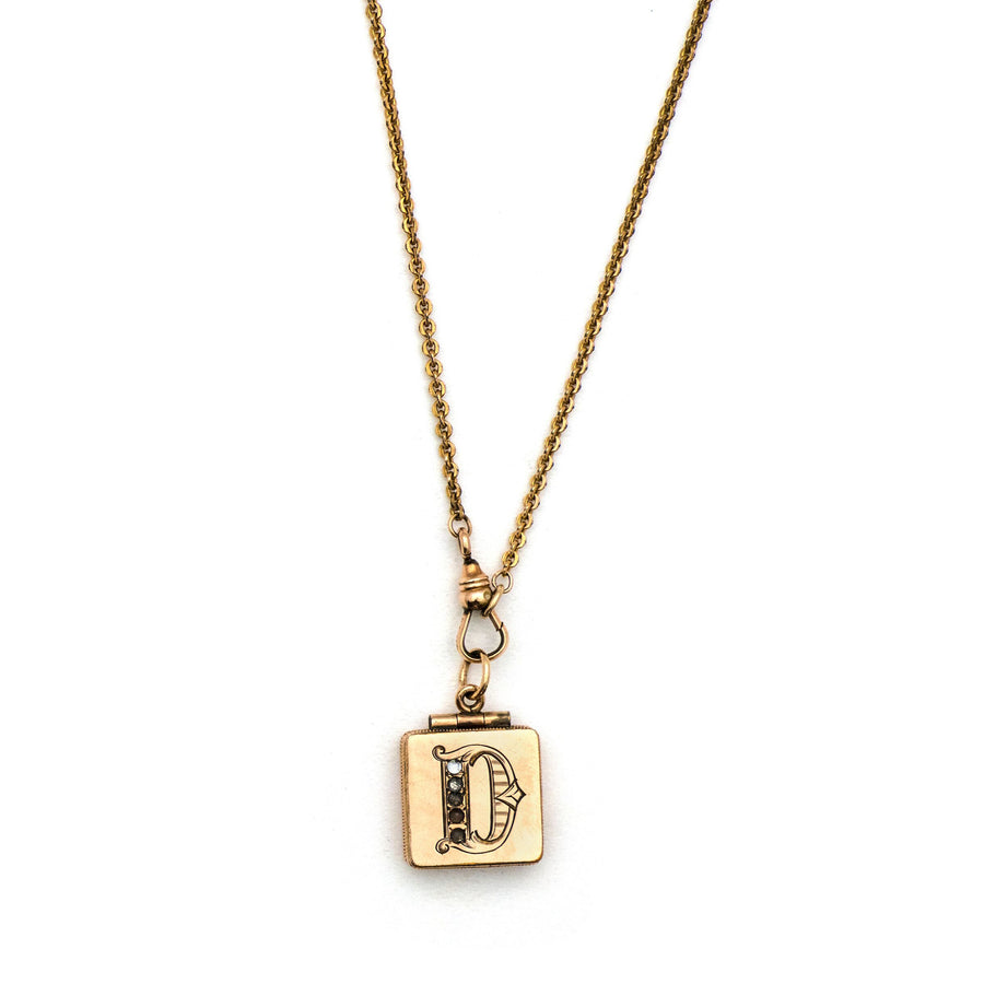 "Letter ""D"" Square Locket"