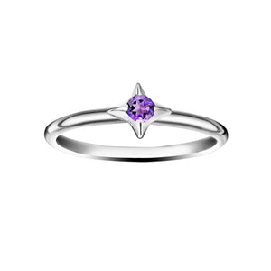 Polished Silver North Star Stacking Birthstone Rings - February / Amethyst