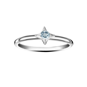 Polished Silver North Star Stacking Birthstone Rings - March / Aquamarine