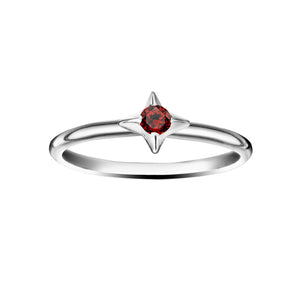 Polished Silver North Star Stacking Birthstone Rings - January / Garnet