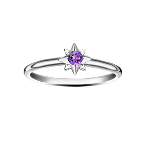 Polished Silver Starburst Stacking Birthstone Rings - February / Amethyst