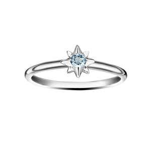 Polished Silver Starburst Stacking Birthstone Rings - Sterling Silver - March / Aquamarine