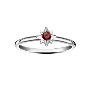 Polished Silver Starburst Stacking Birthstone Rings - January / Garnet