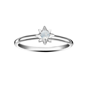 Polished Silver Starburst Stacking Birthstone Rings - June / Moonstone