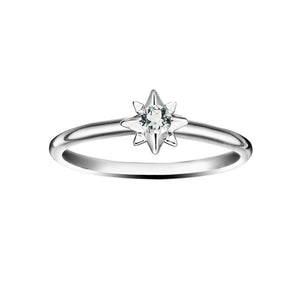 Polished Silver Starburst Stacking Birthstone Rings - April / White Topaz