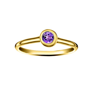 Polished Gold Vermeil Crescent Moon Stacking Birthstone Rings - February / Amethyst