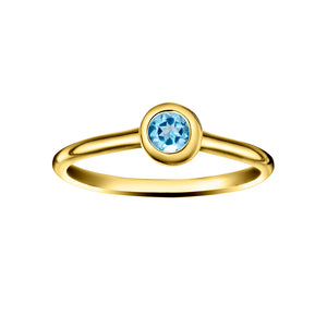 Polished Gold Vermeil Crescent Moon Stacking Birthstone Rings - December / Blue Topaz