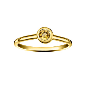 Polished Gold Vermeil Crescent Moon Stacking Birthstone Rings - November / Citrine