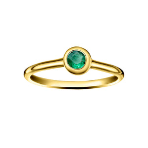 Polished Gold Vermeil Crescent Moon Stacking Birthstone Rings - May / Siberian Emerald