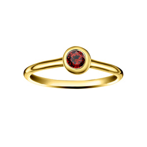 Polished Gold Vermeil Crescent Moon Stacking Birthstone Rings - January / Garnet