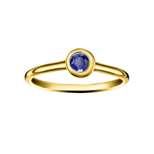 Polished Gold Vermeil Moon Stacking Birthstone Rings - September / Iolite