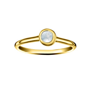Polished Gold Vermeil Crescent Moon Stacking Birthstone Rings - June / Moonstone