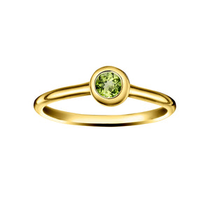 Polished Gold Vermeil Crescent Moon Stacking Birthstone Rings - August / Peridot