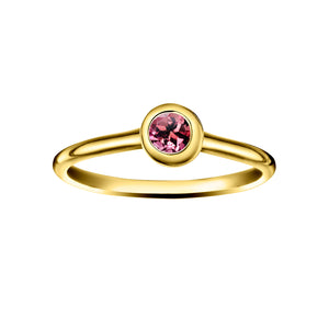 Polished Gold Vermeil Crescent Moon Stacking Birthstone Rings - October / Pink Tourmaline