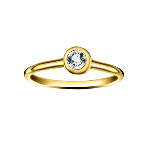 Polished Gold Vermeil Crescent Moon Stacking Birthstone Rings - April / White Topaz