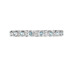 Polished Silver Eternity Stacking Birthstone Rings - March / Aquamarine