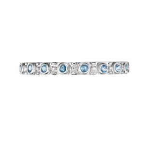 Polished Silver Eternity Stacking Birthstone Rings - December / Blue Topaz