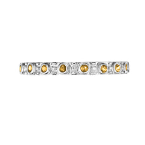 Polished Silver Eternity Stacking Birthstone Rings - November / Citrine