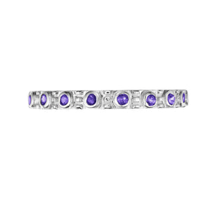 Polished Silver Eternity Stacking Birthstone Rings - September / Iolite