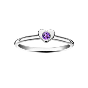 Polished Silver Heart Stacking Birthstone Rings - February / Amethyst