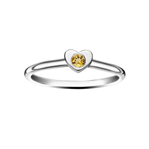 Heart Stacking Birthstone Rings - Sterling Silver