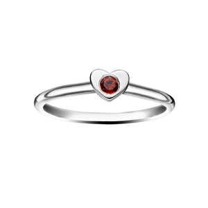 Polished Silver Heart Stacking Birthstone Rings - January / Garnet