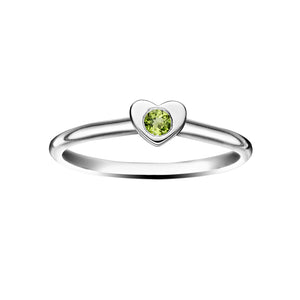 Polished Silver Heart Stacking Birthstone Rings - August / Peridot