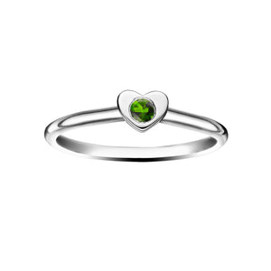 Polished Silver Heart Stacking Birthstone Rings - May / Siberian Emerald