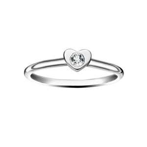 Polished Silver Heart Stacking Birthstone Rings - April / White Topaz