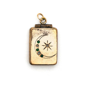 Crescent Moon & Star Rectangle Locket