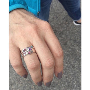 Starburst Stacking Birthstone Rings - Sterling Silver