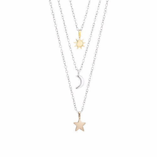 Italian Gold Chain >> Sun, Moon and Stars Charm Necklaces - Luna & Stella